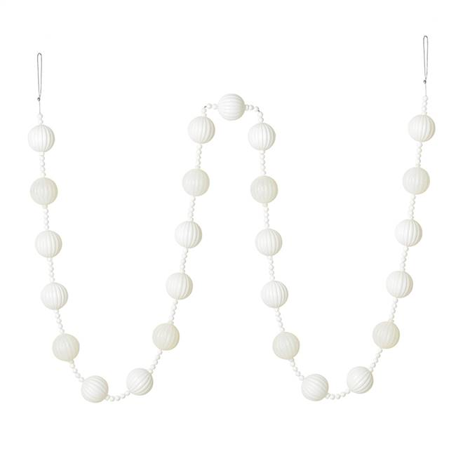 6' White Stripe Ball Ornament Garland