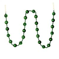 6' Emerald Stripe Ball Ornament Garland