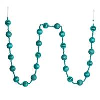 6' Teal Stripe Ball Ornament Garland