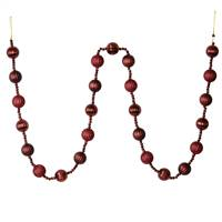 6' Burgundy Stripe Ball Ornament Garland
