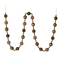 6' Mocha Stripe Ball Ornament Garland