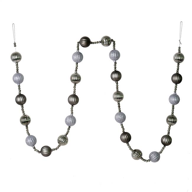 6' Pewter Stripe Ball Ornament Garland