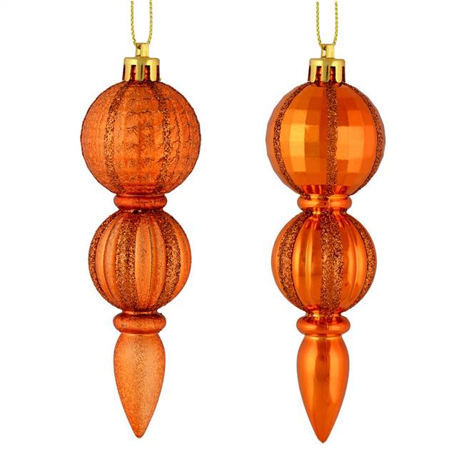 "5"" Burn Orange Glitter Finial Asst 6/Box"