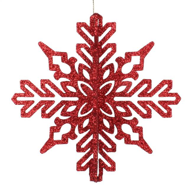 "6"" Red 3D Glitter Snowflake 3/Bag"