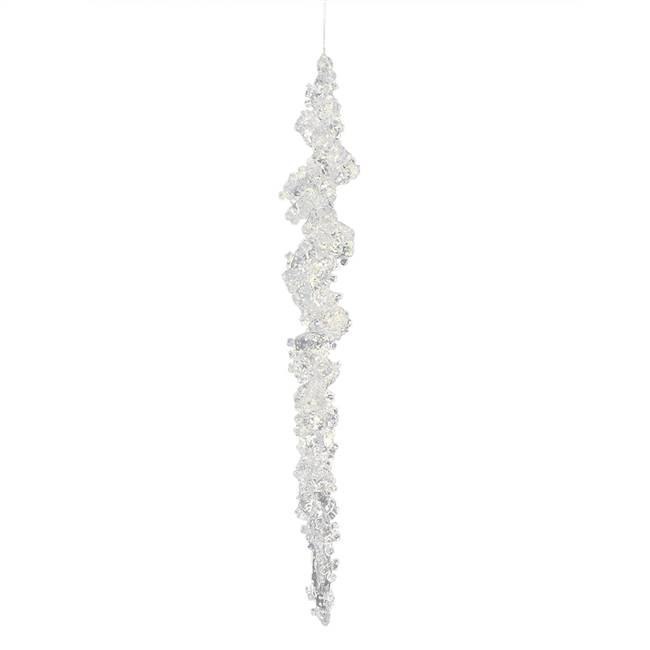 "10"" Clear Icicle w/ Silver Glitter 6/Bag"