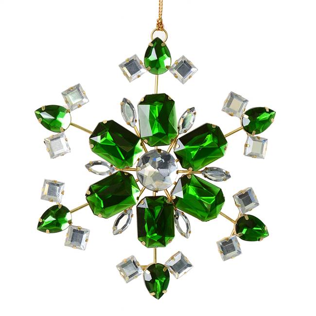 "4.5"" Green Jewel Metal Snowflake 3/Bag"
