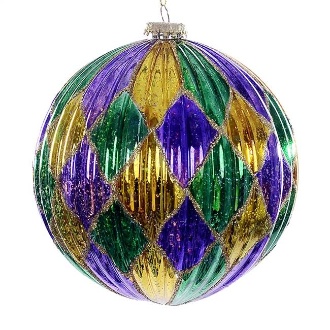 "6"" Purple Gold Green Diamond Ball 2/Bg"