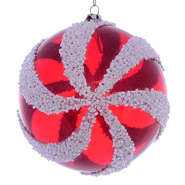 "4.75"" Red White Swirl Ball Ornament 2/Bg"