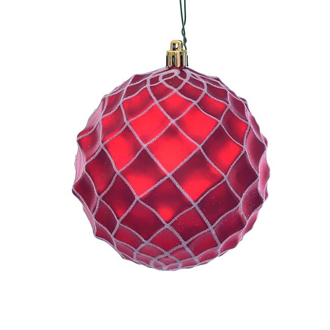 "4"" Red Matte Net Ball Ornament 3/Bg"