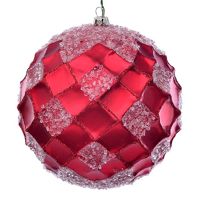 "4.75"" Red Net Beaded Ball 3/Bag"