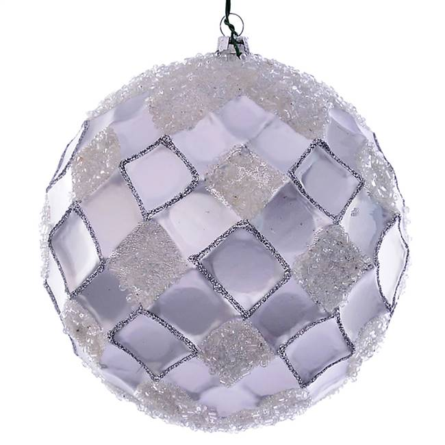 "4.75"" Silver Net Beaded Ball 3/Bag"