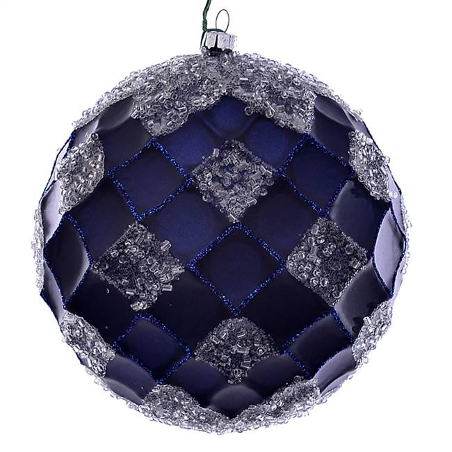 "4.75"" Midnight Blue Net Beaded Ball 3/Bg"