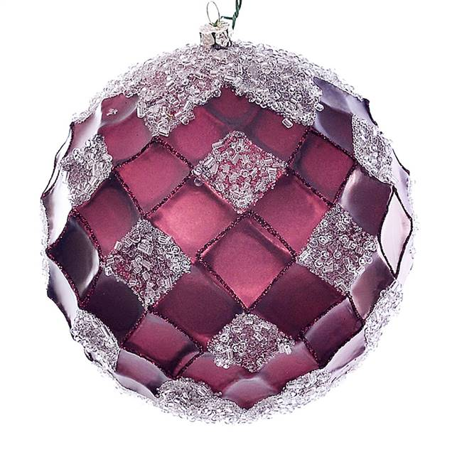 "4.75"" Burgundy Net Beaded Ball 3/Bag"