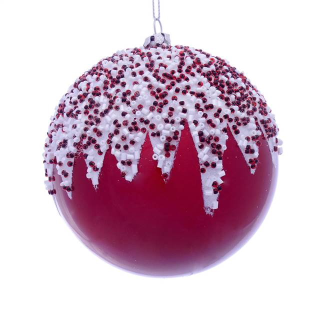"4.75"" Red Beaded Candy Ornament 2/Box"