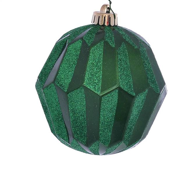 "5"" Green Glitter Faceted Ball Orn 3/Bg"