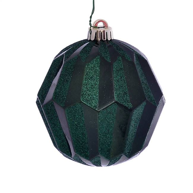 "5"" Emerald Glitter Faceted Ball Orn 3/Bg"