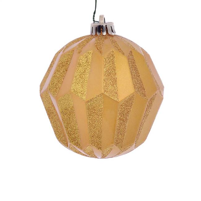 "5"" Honey Gold Glitter Faceted Orn 3/Bg"