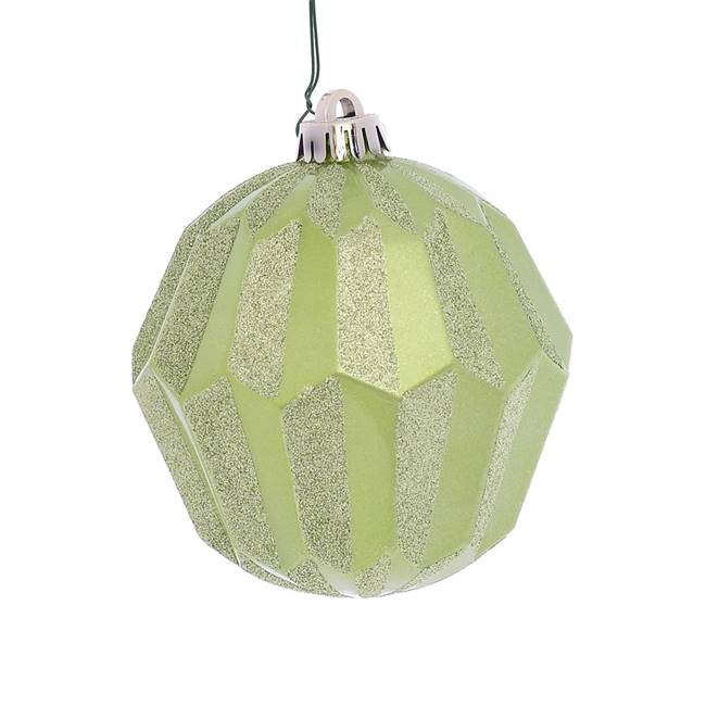 "5"" Celadon Glitter Faceted Ball Orn 3/Bg"