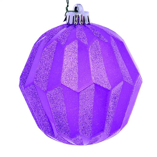 "5"" Orchid Glitter Faceted Ball Orn 3/Bg"