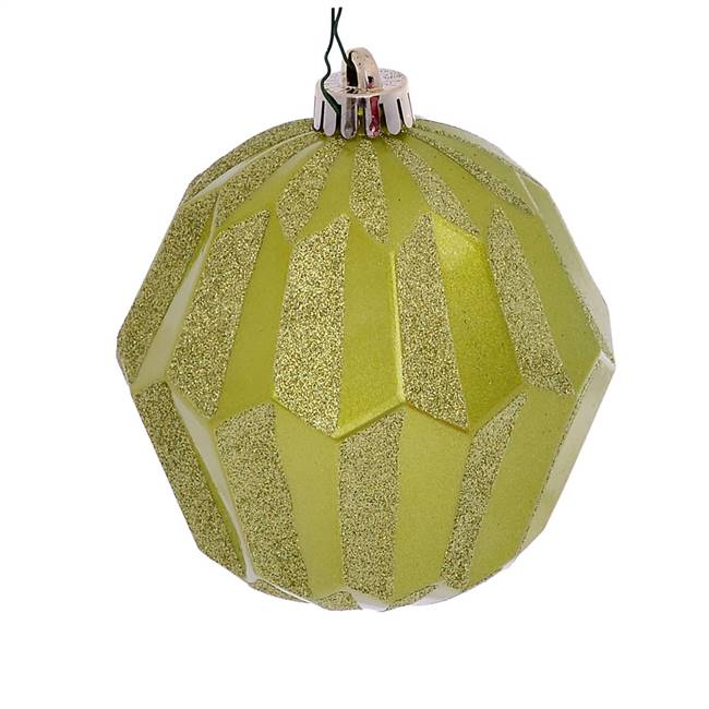 "5"" Lime Glitter Faceted Ball Orn 3/Bg"