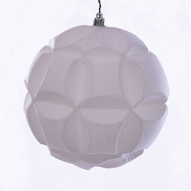 "6"" White Matte Clover Ball Ornament 2/Bg"
