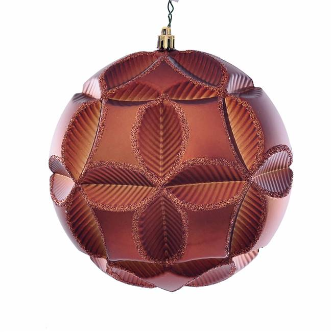 "6"" Copper Matte Clover Ball Orn 2/Bg"