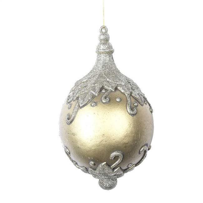 "10"" Gold Antique Leaf Drop Ornament"