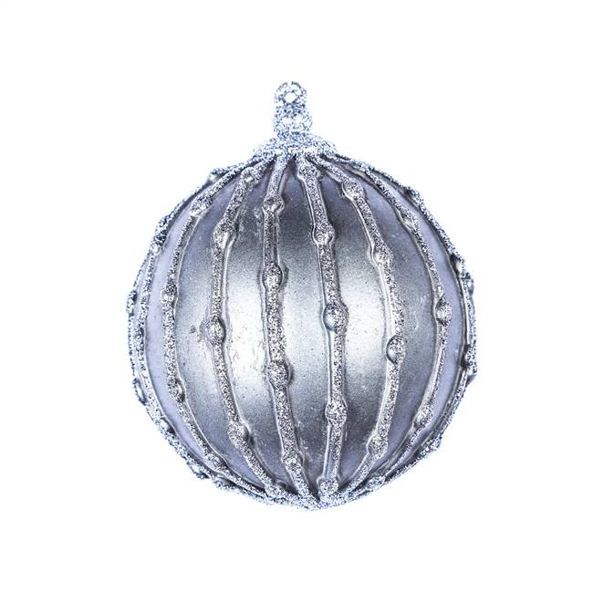 "5"" Pewter Antique Glitter Ball Orn 3/Bag"