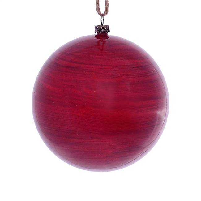 "4"" Red Wood Grain Ball Orn 6/Bag"