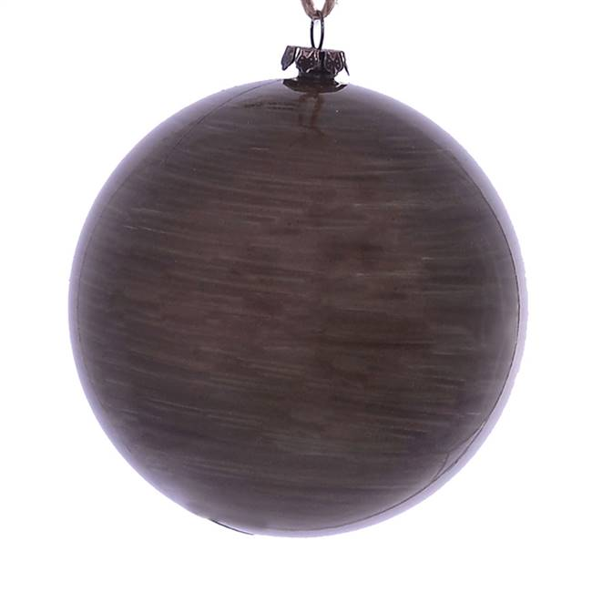 "4"" Pewter Wood Grain Ball Orn 6/Bag"