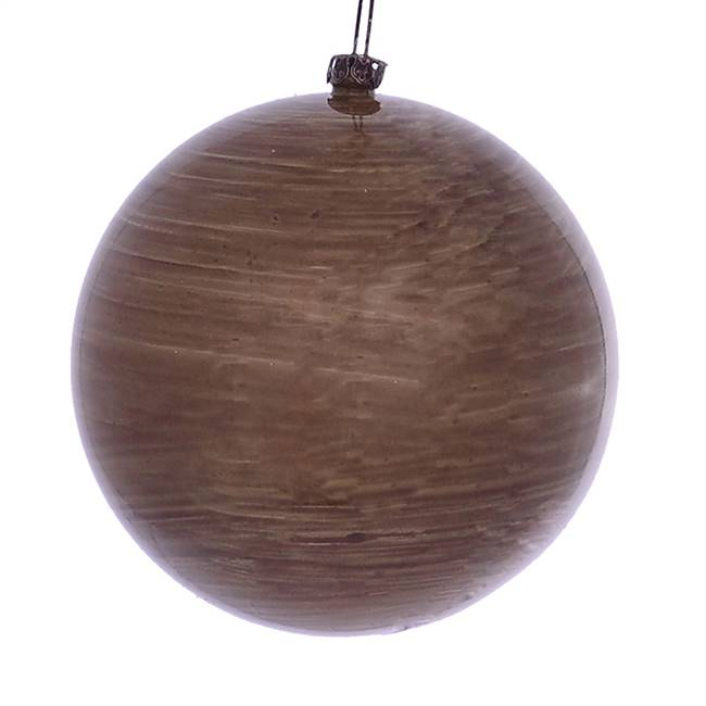"4"" Brown Wood Grain Ball Orn 6/Bag"