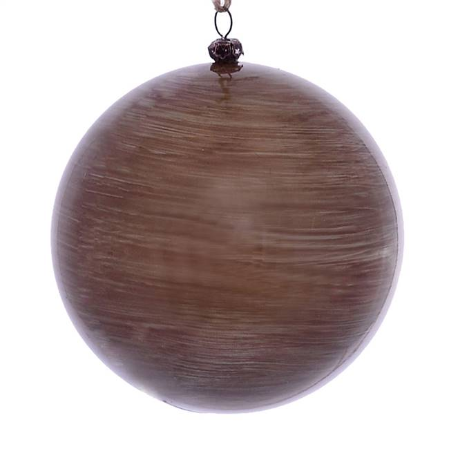 "4.75"" Pewter Wood Grain Ball Orn 4/Bag"