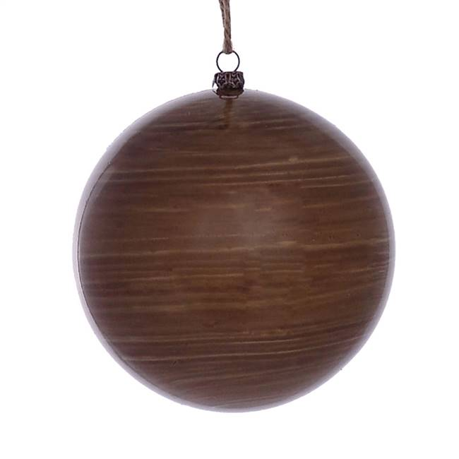 "4.75"" Brown Wood Grain Ball Orn 4/Bag"