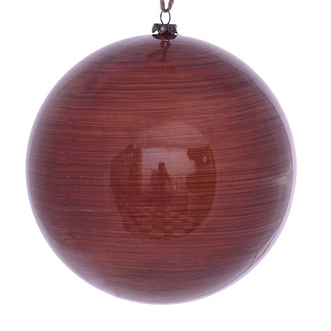 "6"" Copper Wood Grain Ball Orn 3/Bag"