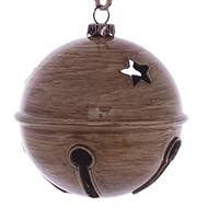 "3"" Brown Wood Grain Bell Orn 6/Bag"