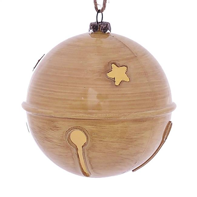 "4"" Tan Wood Grain Bell Orn 6/Bag"