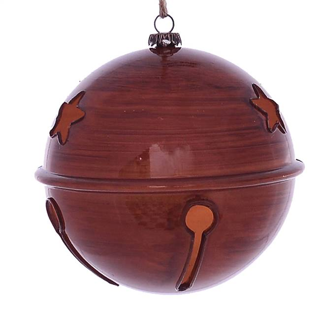 "4.75"" Copper Wood Grain Bell Orn 4/Bag"