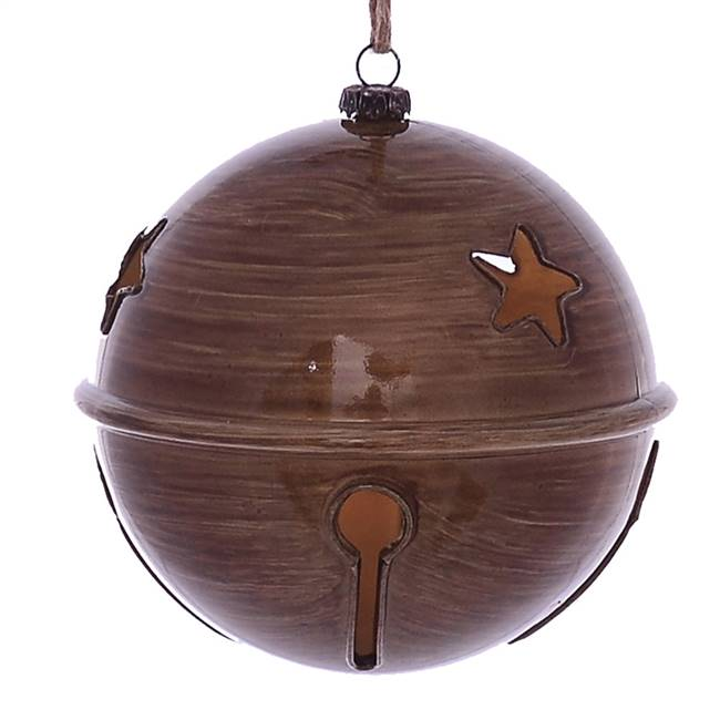 "4.75"" Brown Wood Grain Bell Orn 4/Bag"