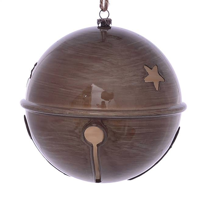 "6"" Pewter Wood Grain Bell Orn 2/Bag"