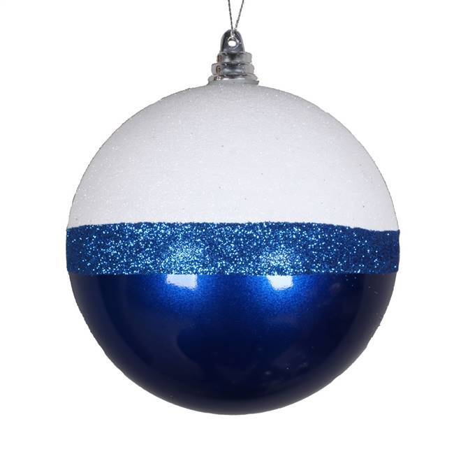 "4"" Blue Candy/White Glitter Ball 6/Bg"
