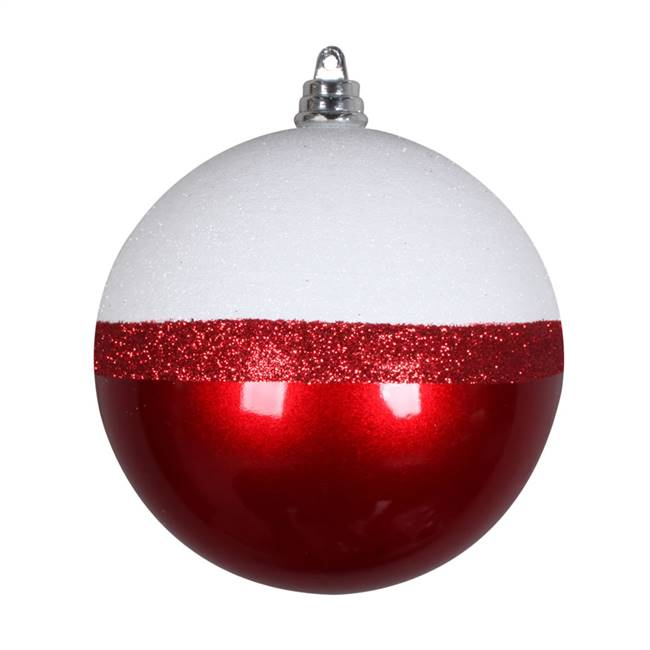 "4"" Red Candy/White Glitter Ball 6/Bg"