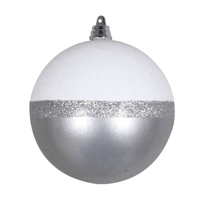 "5"" Silver Candy/White Glitter Ball 4/Bg"