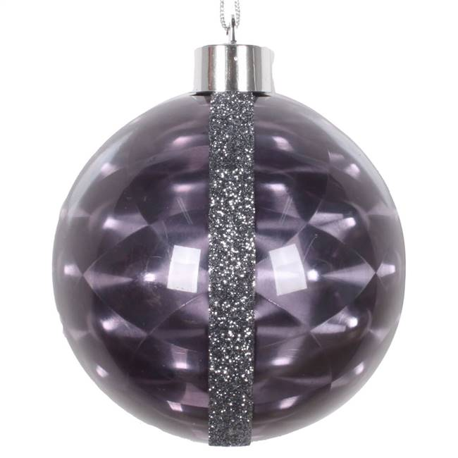 "4"" Black Glitter Reflector Ornament 4/Bg"