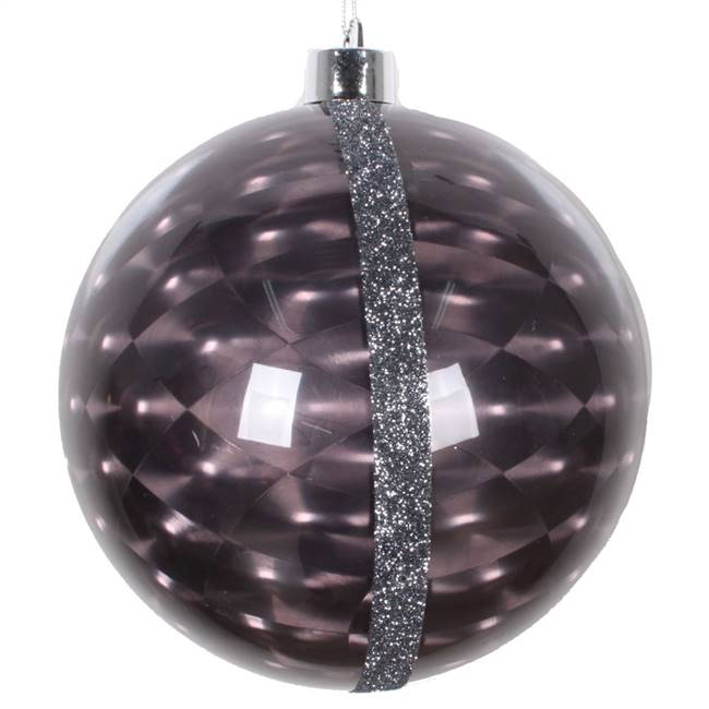 "6"" Black Glitter Reflector Ornament 2/Bg"