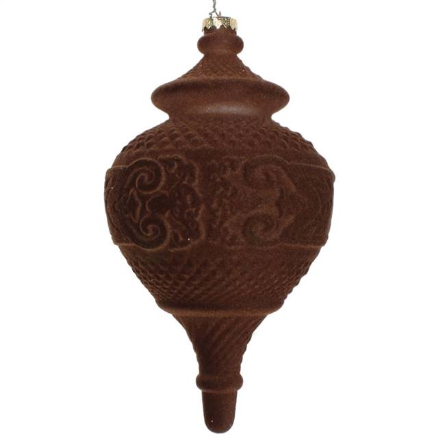 "10.5"" Chocolate Flocked Finial Ornament"