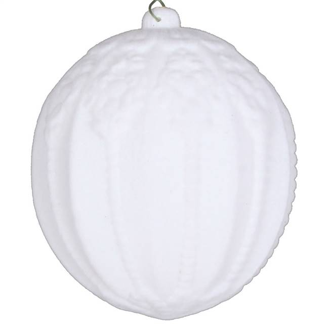 "4"" White Flocked Ball Ornament 3/Bag"