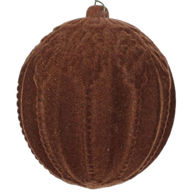 "4"" Chocolate Flocked Ball Ornament 3/Bag"