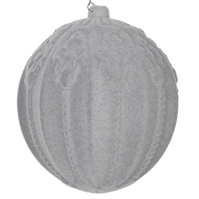 "5.5"" Silver Flocked Ball Ornament 2/Bag"