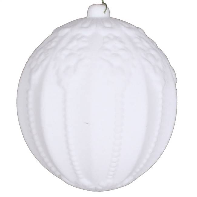 "5.5"" White Flocked Ball Ornament 2/Bag"