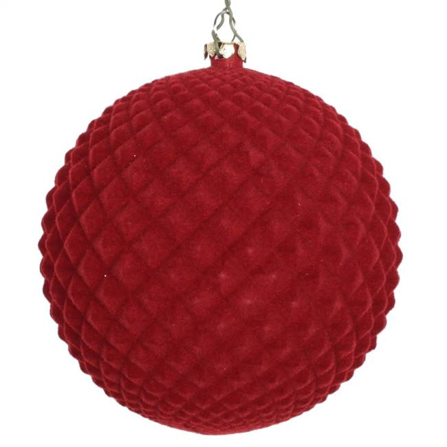 "4"" Burgundy Flocked Durian Ornament 3/Bg"
